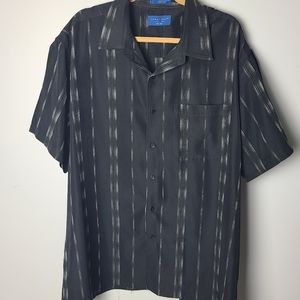 Towncraft Mens Plus Sized Striped button up shirt